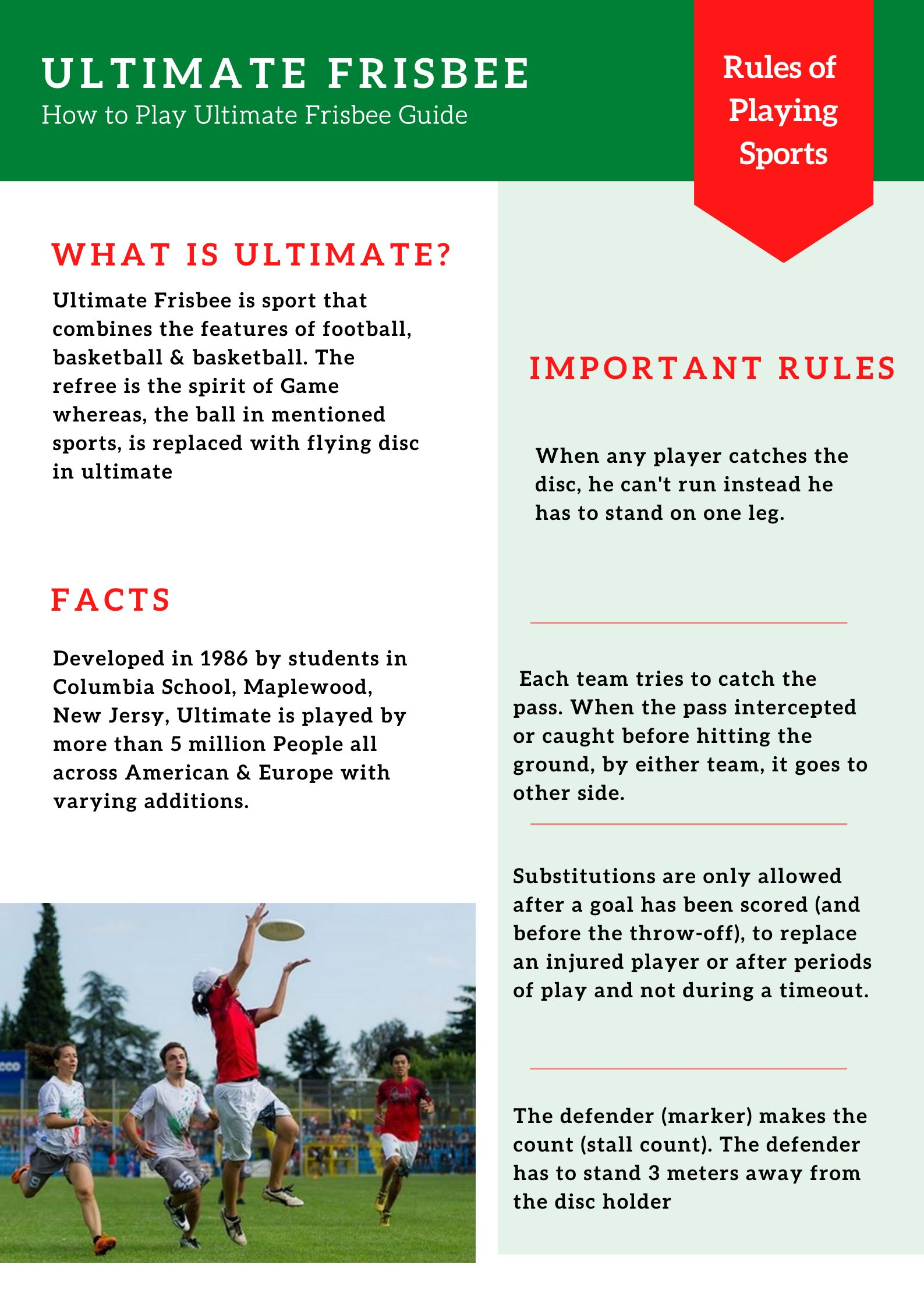 Ultimate Frisbee Rules, Players Guide, How to Play Ultimate